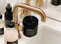 Davines product range on a sink